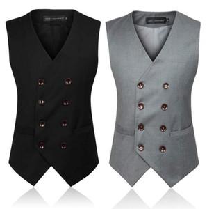 새로운 남성 패션 디자인의 정장 조끼 그레이 블랙 남성 비즈니스 캐주얼 정장 조끼