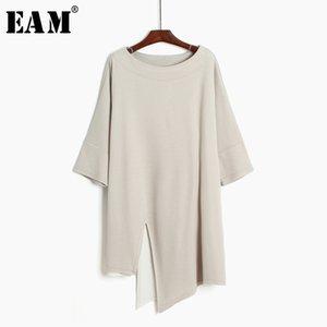 [eam] 2019 neue frühling sommer rundhals kurzarm schwarz lose große rand vent unregelmäßige t-shirt frauen mode flut jl040 s19715