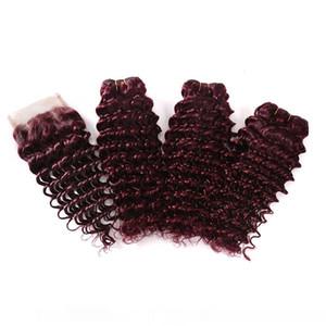 H brésilien Human Hair Weave 100% Virgin Hair Extension vague profonde Curly Vin rouge 3 Bundles Bourgogne cheveux avec dentelle 4x4 Fermeture