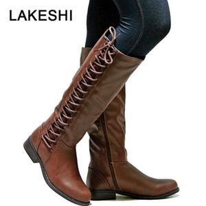LAKESHI Kadınlar Boots 2019 Moda Deri Over-the-diz Boots Kadınlar Uyluk Yüksek Lace Up Düz Motosiklet Kadın