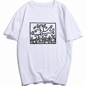 Kendi Logo T Gömlek Toptan ile Keith Haring Man On A Dolphin Tişört Erkekler Vintage Pamuk O Boyun Özelleştirilmiş