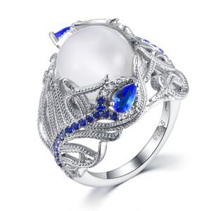 2019 nuova moda blu zircone fiore pietra di luna anello europeo creativo retrò piuma anello gioielli regalo di nozze anel