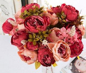 13 Peony Flores Europeia núcleo envolto Peony simulado colorido Outono Peony Decoração de casamento 10pcs / lot WL593