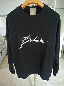 Balmain del diseñador del Mens la camiseta de los hombres de las mujeres del suéter de manga larga Negro Pullover Marca Streetwear Moda Sweatershirt