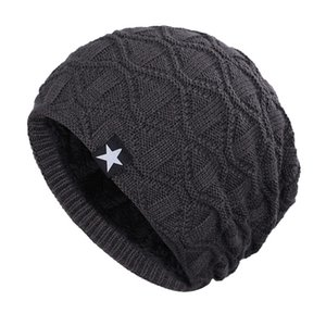 Unisex Winter Outdoor Slouchy Beanie Hat Knitted Skull Caps Comfortable Windproof Fleece Lining Hat Skiing Climb Snowboard Hat