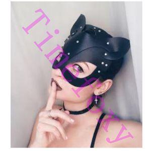 máscara de gato ajustável com orelhas cor preto e vermelho Máscaras capuz gato Costumes Acessório Sexy Fetish capa