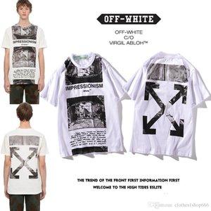 C988 Empresyonist baskılı ok gevşek kısa kollu tee tişört erkekler ve kadınlar gelgit M-XXL