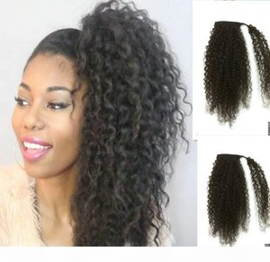kinky curly drawstring ponytail wrap around ponytail clip in virgin brazilian hair extension colors aviable 120g dhl free ship