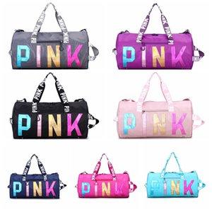 Viagem marca sacos impermeáveis Grande capacidade de bagagem Laser Mão reflexivo Mulheres Weekend viagem Duffle Bag Bolsas Pacote de Esporte Moda