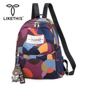 LIKETHIS  Anti-theft Women Backpacks 2019 Large Capacity Letter Backpack Water Resistant Oxford High Quality Daypack