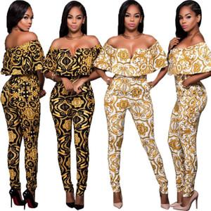 Jumpsuits Macacões elegante para Calças Mulheres Verão lápis One Piece Feminino Club Party Impresso Noite Bodycon