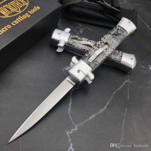 Chegada Nova micro mt máfia italiana Double Action faca automática faca tático D2 lâmina 59HRC cetim gumes exterior EDC facas auto bolso