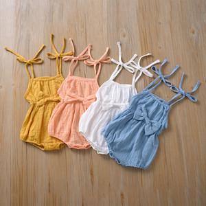 Baby-Baumwollleinenspielanzug 2020 Sommer-Riemen-neugeborenes Kind-Overall Mädchen Jungen Volltonfarbe Strampler Kinder stieg Kleidung Z0812