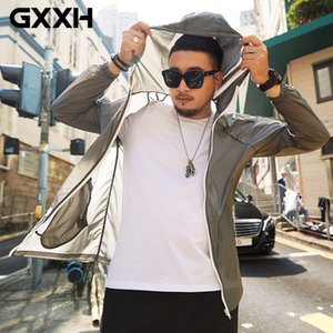 Gxxh Summer Mens Water Counts Anti-UV Thin Coates Outdoor Sun Remaining Steaming Hooded Stret Plus Size 4xl 7xl Man Coat