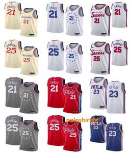 Philadelphia Ausgabe Stadt 2020 Männer Basketball 76ers Jerseys Joel 21 Embiid 25 simmons 23 Butler Jerseys Authentic ALL genähtes Trikots
