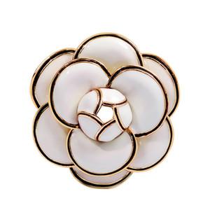Дизайнер Камелия броши высокое качество эмаль цветок броши многослойные лепестки булавки Fahsion ювелирные изделия подарки для мужчин женщин белый черный