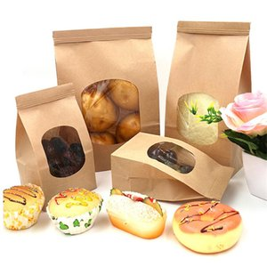 Protable Paper Braed Bag Clear Window Storage Bag Takeout Food Snack iron Wire Food Box yq00838