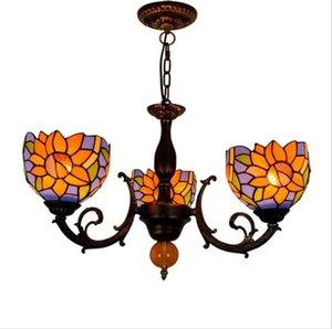 Американские креативные лампы и фонарики Tiffany витраж из витражи Sun Flower личности ресторан украшения три глазурованные люстры