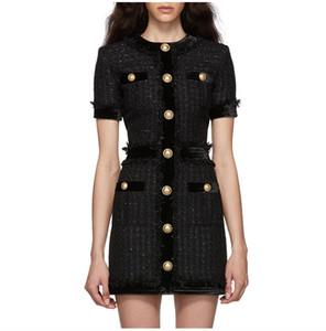 12 Ücretsiz Kargo 2020 Pist Elbise Sonbahar Mürettebat Boyun A Hattı Üstü diz Kısa Kollu İmparatorluğu Kadınlar Giyim ym