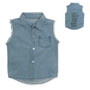 Kids letters printed Denim Waistcoat Fringe sleeveless jeans coat for boys girls 1-3T ins hot 2019 new