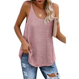 2020 Débardeur Femmes été décontracté en tricot à rayures Hauts pour dames Spaghetti Strap en vrac Gilet Femme camisoles Mode Tops Casual