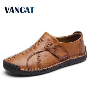 VANCAT 2018 Новый Handmade Удобная повседневная обувь Мокасины Мужская обувь Сплит Качество кожи Мужчины Квартиры обувь Мокасины