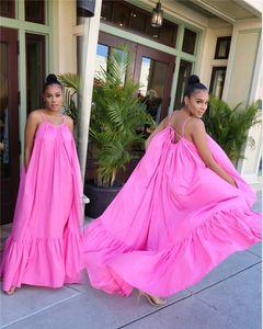 Kadın Spagetti Askı Oversize Elbise Yaz Tasarımcı 5XL Artı boyutu Katı Renk Kasetli Günlük Elbiseler Dişiler Seksi Backless Elbise
