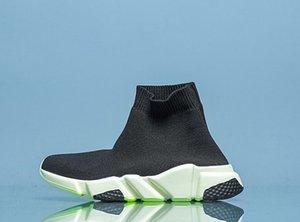 niños de la moda Negro velocidad de impresión del logotipo-Stretch-Knit de alta Top zapatillas de deporte de los niños del calcetín calcetín causal tamaño de los zapatos 24-35 euros