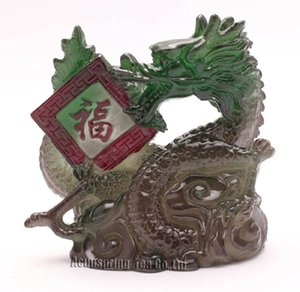 Allochroic Mascot,Green Lucky Dragon,Fengshui,Best Gifts,Novel present, arts&Crafts,Ornament will change color, tea pet, S1175A