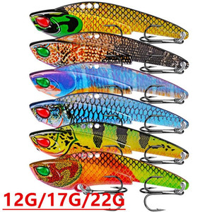 Mixed 6 Color 12g-22g(60mm-77mm) VIB Spoons Fishing Hooks Fishhooks 8 6# Hook Metal Baits & Lures Pesca Fishing Tackle Accessories D-022