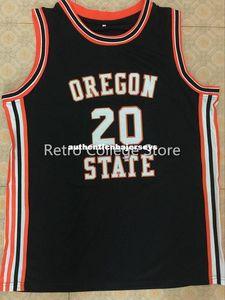 # 20 Gary Payton Oregon State Kunduzlar Basketbol Forması Siyah Dikişli Dikişli herhangi bir boyut ve ad Özelleştirmek XS-6XL yelek Formalar