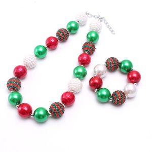 عيد الميلاد فتاة مكتنزة قلادة سوار 2PCS مجموعة مجوهرات الخرز فقاعة بوتيك عطلة مجموعات فتاة الأطفال هدية