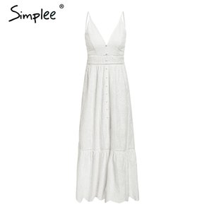 Simplee bordado blanco sexy mujer vestido de verano con cuello en V correa de espagueti perla botones de algodón vestidos de fiesta de noche vestidos largos