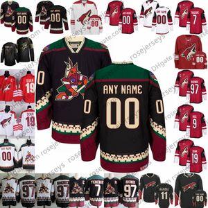 Phoenix Coyotes # 7 de la vendimia Keith Tkachuk 19 Shane Doan 27 Teppo Numminen 97 Jeremy Roenick Negro Rojo Blanco Arizona hockey Retirado Jersey 4XL