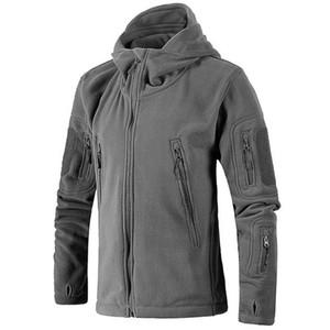 Hommes Randonnée Veste Manteau Veste tactique Toison uniforme Soft Shell Casual capuche Trekking thermique Armée Vêtements