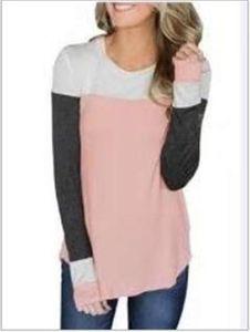 TShirts Designer contrasto di colore a maniche lunghe Slim Colth femminile di moda del collare rotondo Tops Spell delle donne di colore