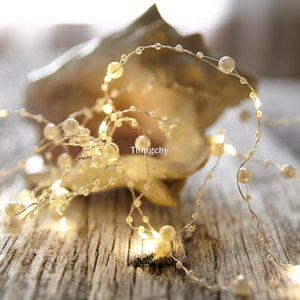 Batteria / usb Operated Pearl Led Copper Wire String Lights Pearlized luci leggiadramente per casa di cerimonia nuziale Decorazione per feste di Natale