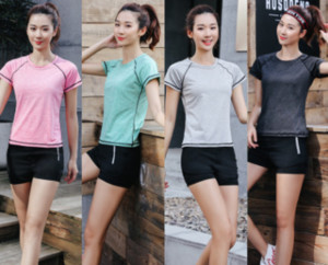 Yoga clothing short-sleeved quick-drying clothes outdoor sportswear running clothes three-piece suit