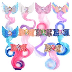 Sereia dos desenhos animados Lantejoula Hairpin bonito Bebés Meninas multicolour peruca trançar Barrettes filhos Cabelo Boutique Clipe Crianças Acessórios de cabelo