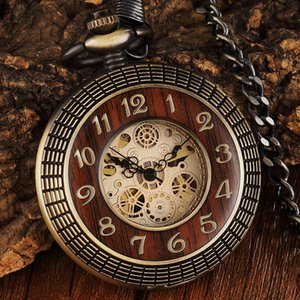 Número Carved Wood Circle Vintage Dial Pocket Watch Men Único oco Steampunk Bronze Mechanical Clock Relógios Cadeia C19010301