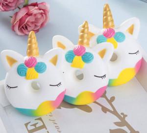 Menina Menino Bebês Crianças dos desenhos animados do unicórnio Donut Toy Soft Toy borracha colorido Dot Squeeze borracha macia Anti-Stress Brinquedos caçoa o presente