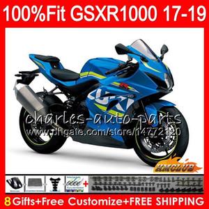 Iniezione per SUZUKI GSX R1000 GSX-R1000 GSXR 1000 17 18 19 17HC.0 L7 L8 GSXR-1000 K17 GSXR1000 2017 2018 2019 Kit carena Hot Factory blu