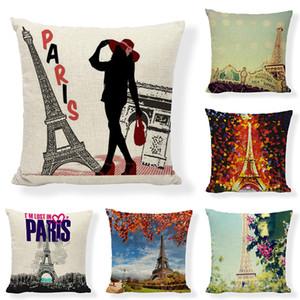 Londra Dekoratif Yastık Kılıfı Paris Eyfel Kulesi Yastık Kapak Yastık Ev Dekorasyon Koltuk Sandalye Kapak Yastık