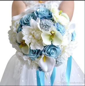 Beyaz Mavi Gelin Gelin Buketi Düğün Dekorasyon Yapay Çiçek nedime Gelin El Holding Broş Çiçek CPA1544