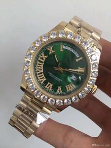 Мужские спортивные автоматические механические часы большой циферблат 44 мм неделю календарь римское лицо золотое серебро 18К алмазное кольцо