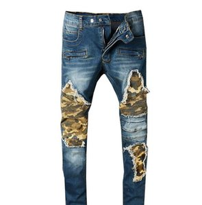 Mens Biker Jeans Camouflage Patchwork Design Hommes Slim Pencil Pants Denim Long Trousers Streetwear Ripped Jeans Males Clothing