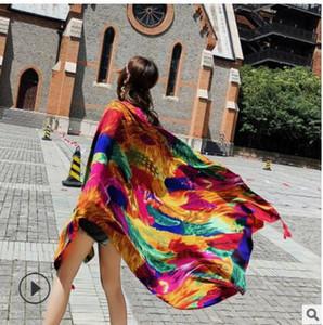 180x90cm nouvelle Summer Print foulard en soie foulard en mousseline de soie surdimensionné femmes Pareo Beach Cover Up Wrap Sarong crème solaire Long Cape Femme shippin gratuit