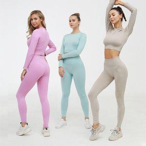 4 couleurs Womens Yoga Costume manches longues Sport Tight Yoga Slim Fit respirante Vêtements Survêtements Deux pièces d'intérieur Vêtements Gym manches longues S-L