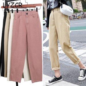 LYZCR SUMMMER denim cachi Jeans Donna matita del cotone pantaloni 2020 Loose Women mamma Boyfirends Jeans Femme caviglia delle donne