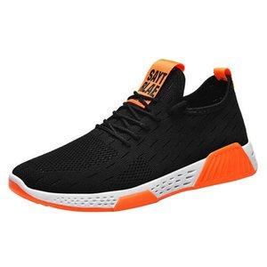 Shujin Erkek Tenis Ayakkabı Lace Up Karışık Renkli Erkekler Sneakers Nefes Confort Stretch febric Mesh Sığ Flats Spor Ayakkabıları 2020